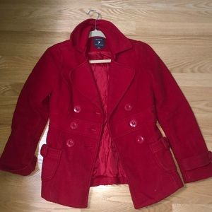 F21 Bright Red Peacoat